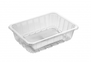 This is a big tray made of APET material. It is commonly used for cold foods and snacks.