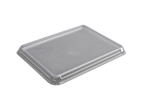 This is a lid made of APET material. Its made for cold foods and snacks.