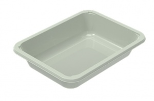 This tray is made from Evolve material which is made from recycled PET.