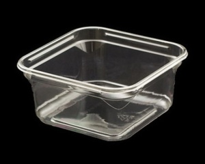 This shows our 8 oz. clear APET container for soft cheeses, hummus,, coleslaw and fresh cut veggies.