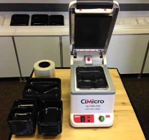 This picture shows our CiMicro Tray Sealer along with CPET trays and film.  This is all a Chef needs to get into production and everything is for less than $ 1,500.00. CiMa-Pak is your one source for tray sealers, CPET and APET trays as well as the sealing or lidding film.