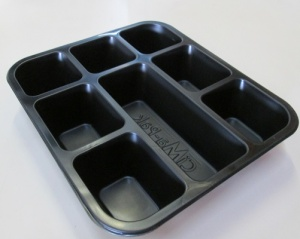 This is a Thali tray with 8 compartments. It is made of PP material.