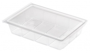 This is a tray that is made of APET material. It is used for cold foods and snacks.