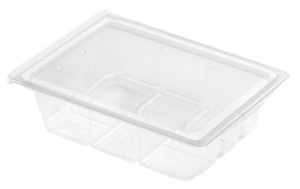 This is a tray which is made of APET material. Commonly used for cold foods and snacks.