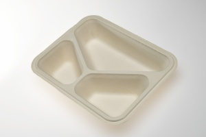 Our OK4 Series trays are 100% compostable.  The OK42227-3 is a three compartment, take away tray for ready meals in schools, senior meal to go, or institutional kitchens.