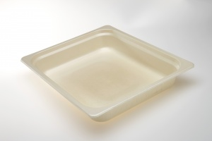 Our OK4 Series trays are 100% compostable.  The OK42325-1 is a one compartment which is ideal for caters, meal service applications and institutional kitchens.