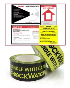 A companion label provides a visual warning that a damage detection device is monitoring the product