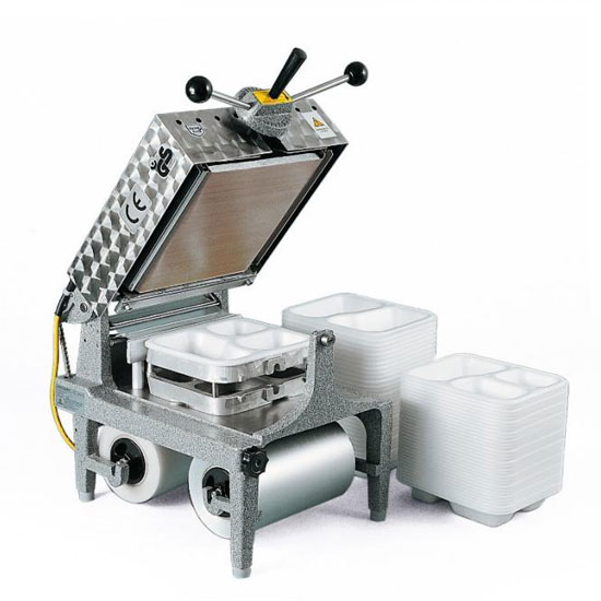 Manual tray sealer for sealing lidding film onto CPET and APET trays.